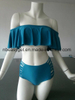 Women Two Piece off Shoulder Ruffled Flounce Crop Bikini ESG10567