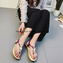 Women′s Summer Bohemian Beaded Ankle Walking Strap Sandals Shoes ESG10585