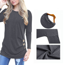 Womens Casual Long Sleeve Side Button Blouse T-Shirt ESG10442
