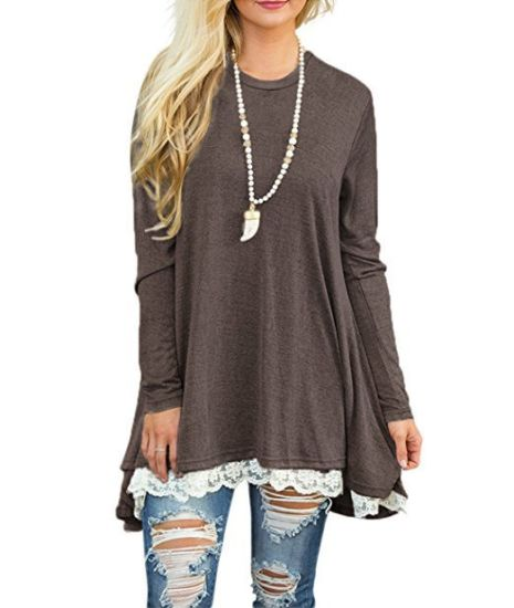 Women′s Casual Lace Long Sleeve Tunic Top Blouse ESG10455