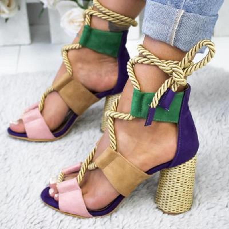 Women′s Fashion Strappy Sandals Open Toe Block High Heels Cutout Gladiator Sandals ESG13412
