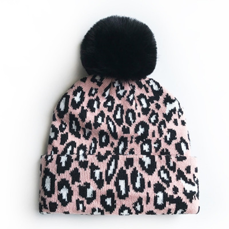 Baby Infant Beanie Knit Warm Winter POM Skull Cap Hat Leopard Print ESG13425