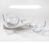 Double Pet Bowl Transparent Pet Feeding Bowl for Cats and Small Dogs (Set of 2 Transparent) ESG12369