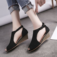 Womens Low Heel Ankle Buckle Boots Slip on Cut out Wedge Block Stacked Open Toe Platform Ankle Boots ESG13408