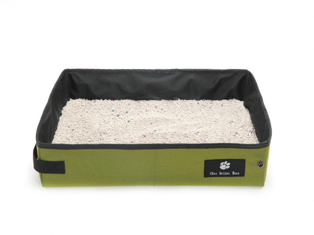 Cat Travel Litter Box Foldable and Portable with Waterproof Compartment ESG12361