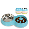 Slow Feeder Bowl for Small Medium Pets Stainless Steel Water Bowl with Non-Skid Double Bowl Pet Feeding Station ESG12366
